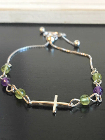 Amethyst and Peridot Sterling Cross Bracelet | August Birthstone | February Birthstone