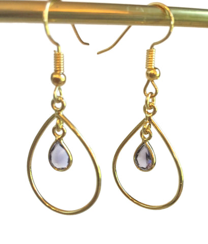 Amethyst Dangle Hoop Gold Plated Earrings | February Birthday| Christmas gift | Birthday gift