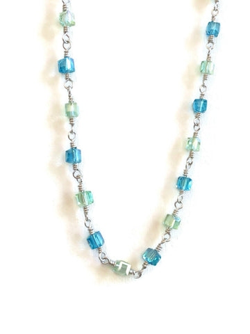 Blue and Green Crystal Necklace