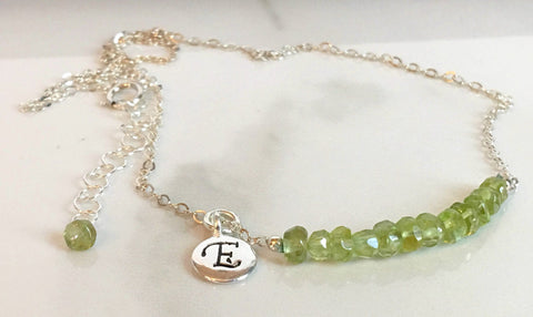August Birthstone Bar Necklace | Leo Birthday | 16th Anniversary Gift | Peridot