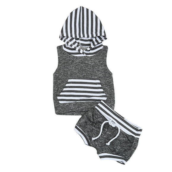 Grey Hooded Tank Set