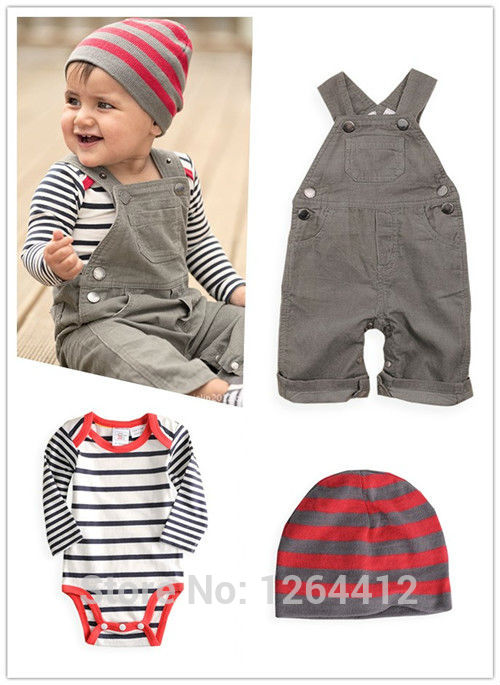 Overalls, Baby long sleeve Romper and Beanie