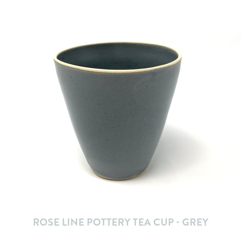 Rose Line Pottery Tea Cup - Grey