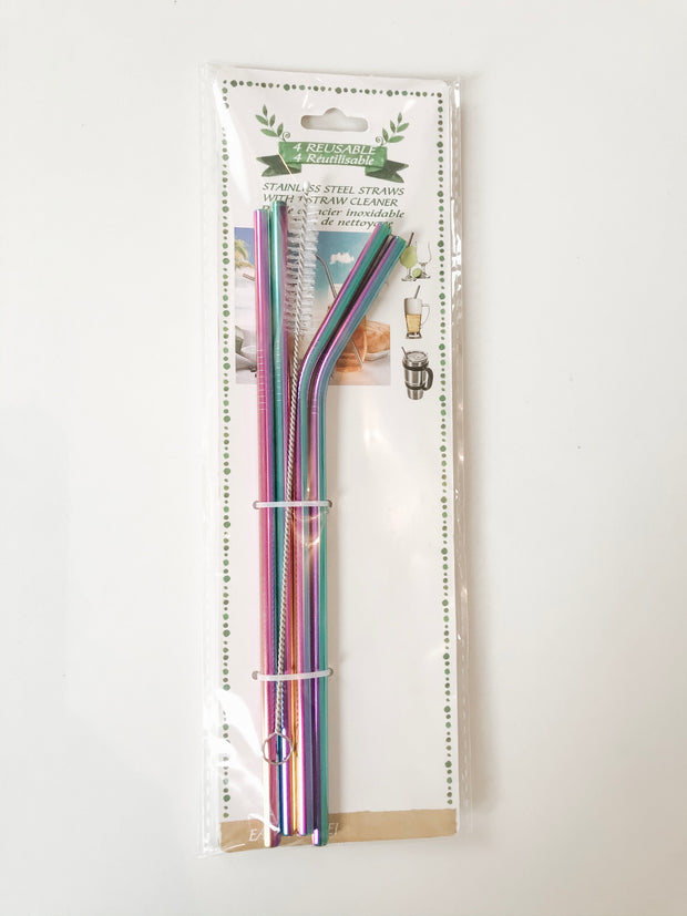Multicoloured Reusable Straws - 4 Pack