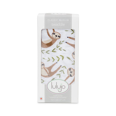 Lulujo Classic Swaddle- Sloth Cotton