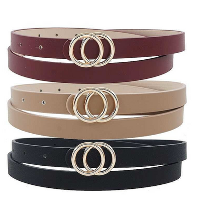 Double Ring Buckle Skinny Belt