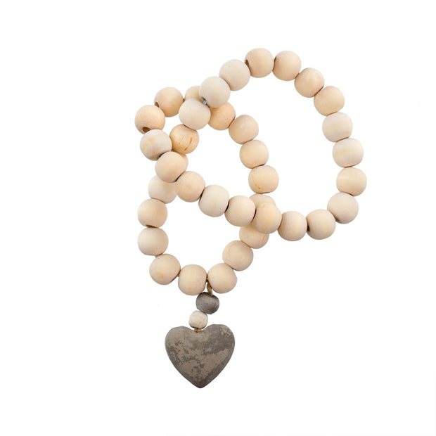 Wooden Prayer Beads w/ Concrete Heart
