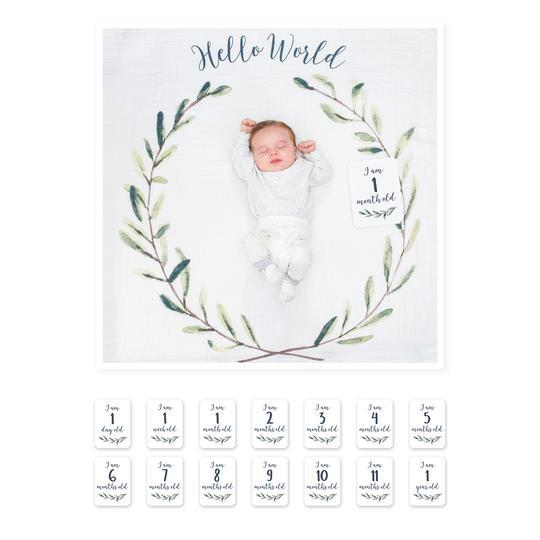 Lulujo Milestone Blanket- Hello World