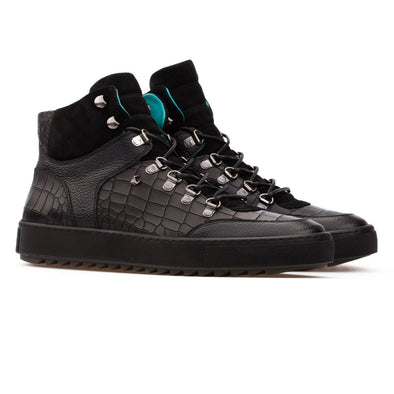 Barron – Leather Croco Embossed & Suede Mixed Black - BUB Leather Shoes
