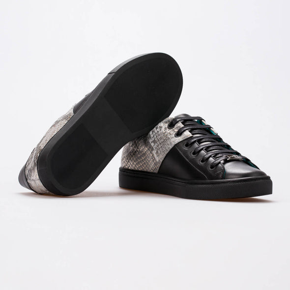 Anya – Leather Black & Silver Snake Embossed - BUB Leather Shoes