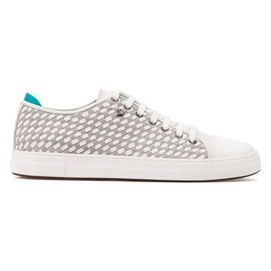 Ryan - White & Grey - Calf Suede & Leather Knitted Sneaker - BUB Leather Shoes