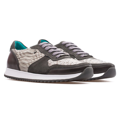 Roger - Grey - Python Skin & Nubuck Runner - BUB Leather Shoes