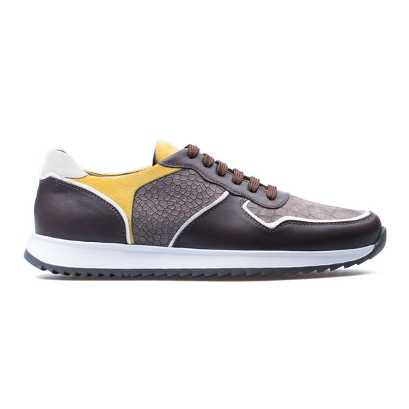 Christian - Brown & Yellow - Embsosed Calf Nubuck & Leather - BUB Leather Shoes