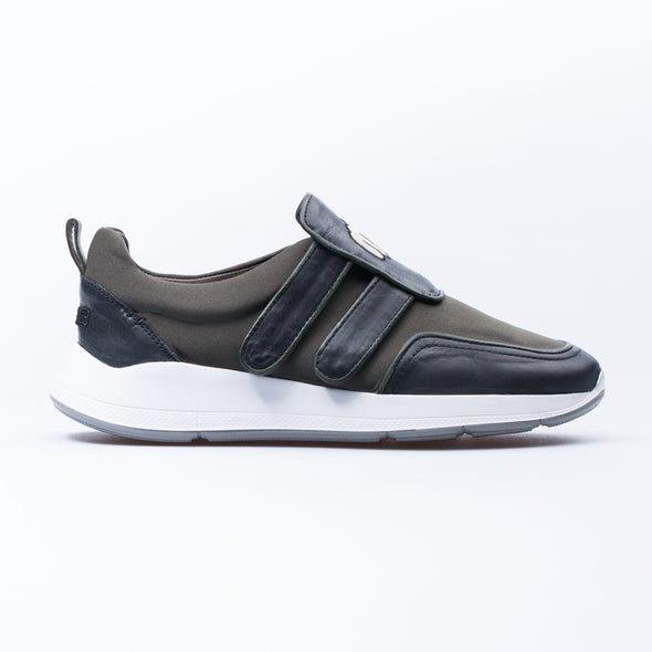 Barney - Black & Khaki - Leather & Neoprene - BUB Leather Shoes