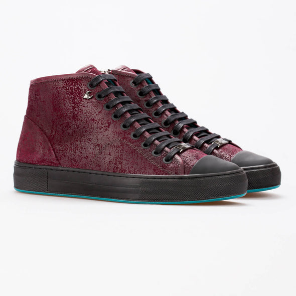Lucy –  Suede (Printed) Burgundy & Mat Leather Black - BUB Leather Shoes