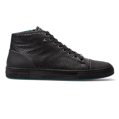 Kevin – Leather Snake Embossed Black - BUB Leather Shoes