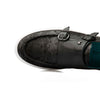 Johnny - Black - Calf Leather & Printed Suede Monk Strap - BUB Leather Shoes
