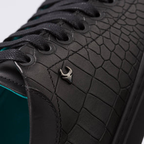 Ava – Leather Croco Embossed Black - BUB Leather Shoes
