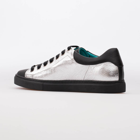 Ava – Leather Silver & Mat Black - BUB Leather Shoes