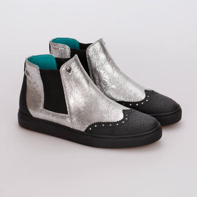 Emma – Leather Silver & Mat Black - BUB Leather Shoes
