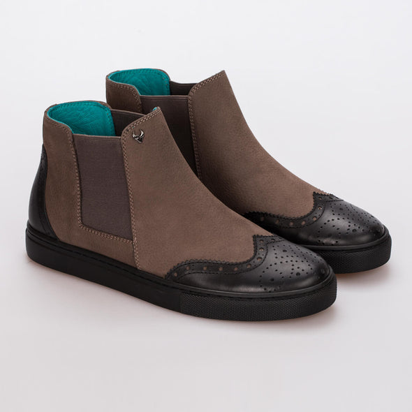 Emma – Nubuck Brown & Leather Black - BUB Leather Shoes