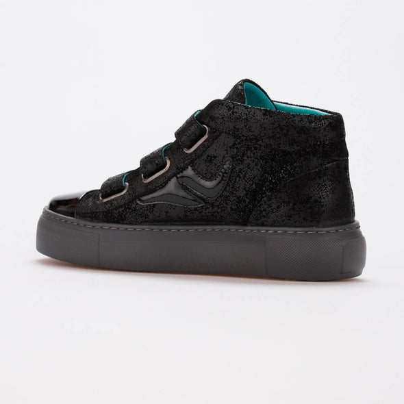 Alice – Wet Suede & Patent Leather Black - BUB Leather Shoes