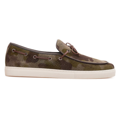 Luca - Khaki Camouflage - Calf Suede Laced Loafer - BUB Leather Shoes