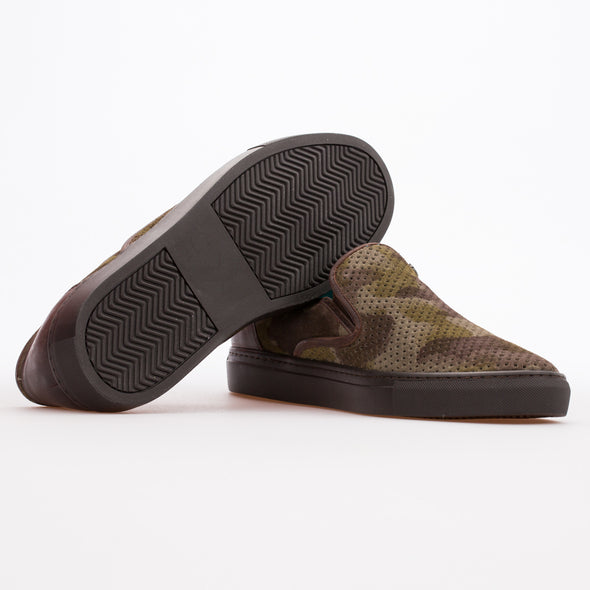 Caspar - Khaki Camouflage - Calf Suede Slip On - BUB Leather Shoes
