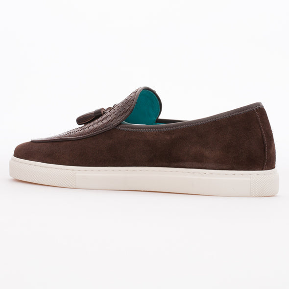 Edwin - Brown - Calf Suede & Leather Tasseled Loafer - BUB Leather Shoes