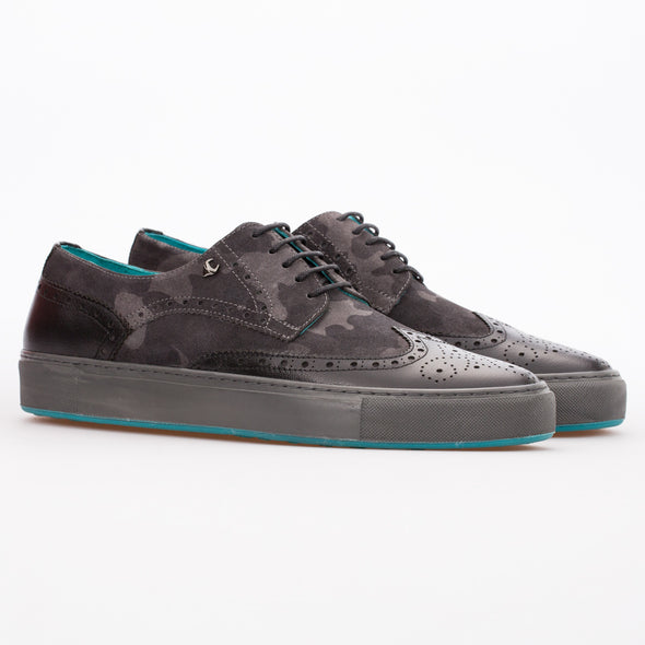 Daniel - Anthracite Camouflage & Black - Calf Suede & Leather Wingtip Brogue Derby - BUB Leather Shoes
