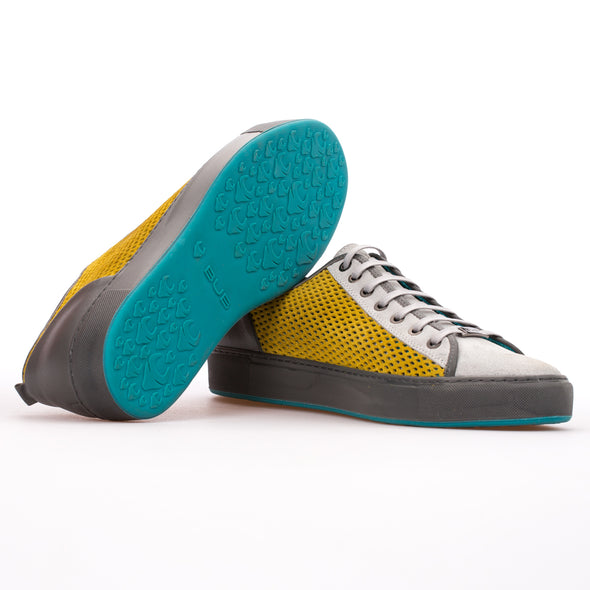 Miles - Yellow & Grey - Calf Suede Sneaker - BUB Leather Shoes