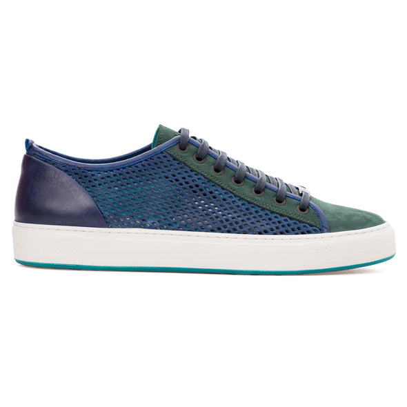 Miles - Saks Blue & Green - Calf Nubuck Sneaker - BUB Leather Shoes