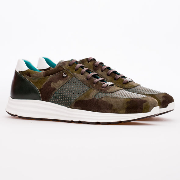 Chase - Khaki Camouflage & Green -  Calf Suede & Leather Runner - BUB Leather Shoes