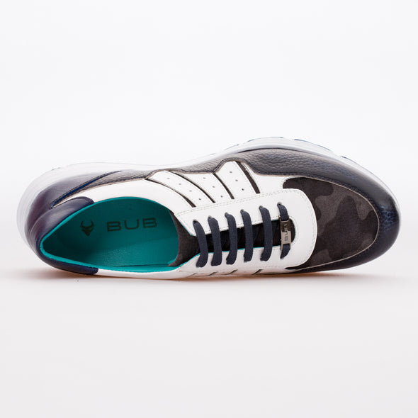 Keegan - Dark Blue & White - Calf Leather & Suede Runner - BUB Leather Shoes