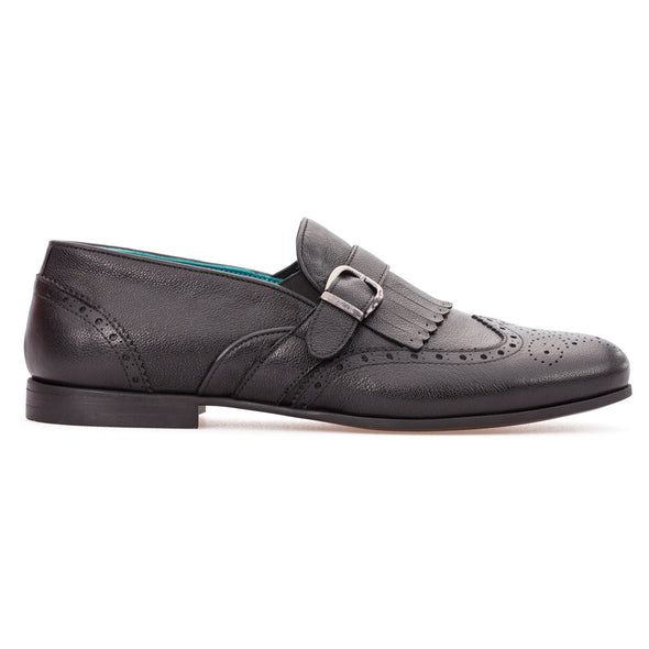 Damian - Black - Calf Leather Buckled Loafer - BUB Leather Shoes
