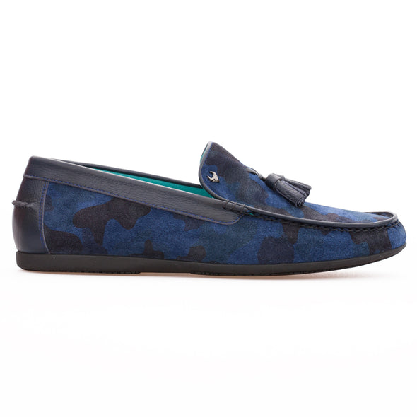 Miguel - Saks Blue Camouflage - Calf Suede Tasseled Loafer - BUB Leather Shoes