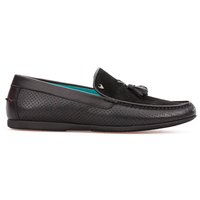 Timothy - Black - Calf Suede & Leather Tasseled Loafer - BUB Leather Shoes