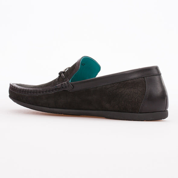 Emilio - Black - Calf Nubuck Buckled Loafer - BUB Leather Shoes