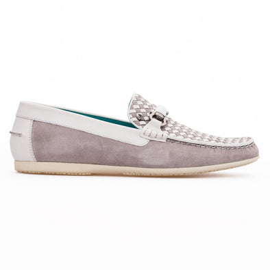 Cruz - White & Grey - Calf Suede & Leather Buckled Loafer - BUB Leather Shoes
