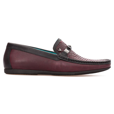 Parker - Burgundy & Black - Calf Leather Buckled Loafer - BUB Leather Shoes