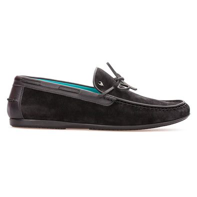 Tim - Black - Calf Suede Laced Loafer - BUB Leather Shoes