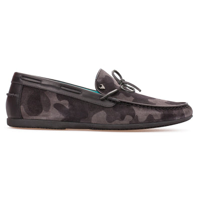 Tim - Anthracite Camouflage - Calf Suede Laced Loafer - BUB Leather Shoes
