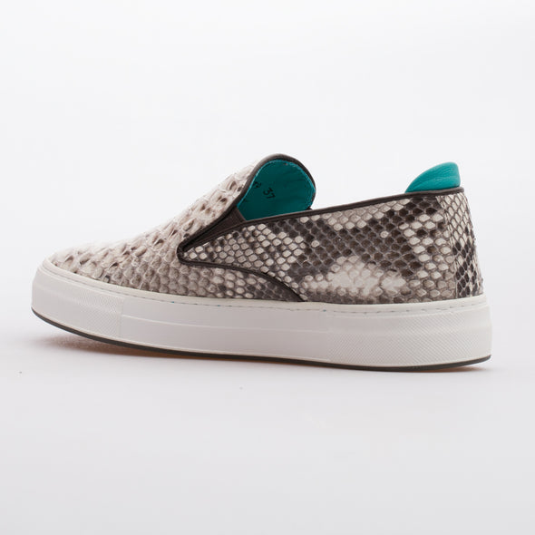 Penny - Natural Beige - Real Python Skin Sneaker - BUB Leather Shoes