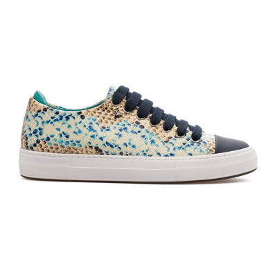 Megan - Blue & Beige - Calf Leather Sneaker - BUB Leather Shoes