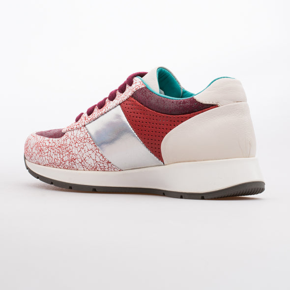 Maria - Red & White - Calf Leather Runner - BUB Leather Shoes