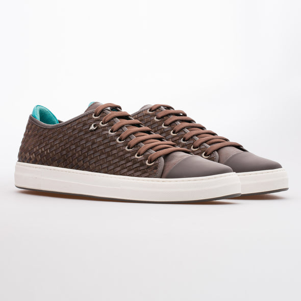 Ryan - Brown - Calf Suede & Leather Knitted Sneaker - BUB Leather Shoes
