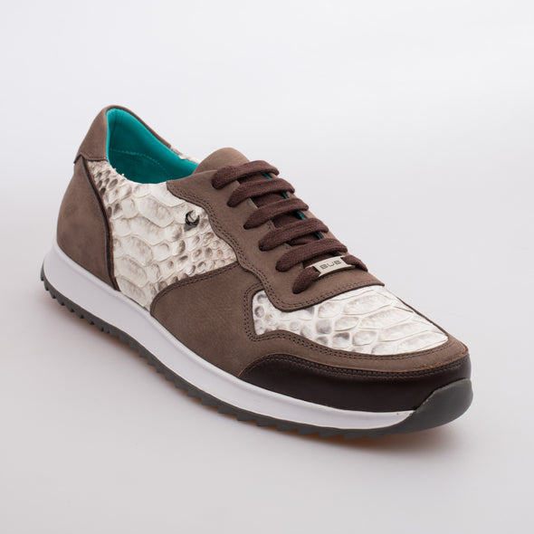 Roger - Brown - Python Skin & Nubuck Runner - BUB Leather Shoes