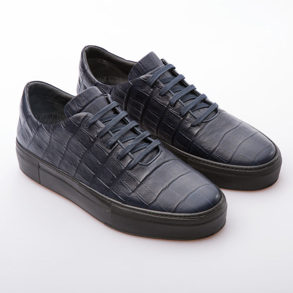 Ben - Dark Blue - Embossed Calf Leather - BUB Leather Shoes