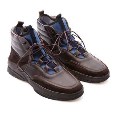 Elon - Brown & Blue - Calf Leather & Neoprene - BUB Leather Shoes