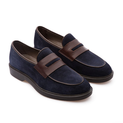Roy - Dark Blue - Waxy Suede - BUB Leather Shoes